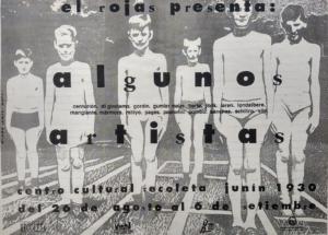 Afiche de la exposición El Rojas presenta Algunos Artistas, Centro Cultural Recoleta, 1992. Diseño Jorge Gumier Maier. Archivo Magdalena Jitrik, Buenos Aires.