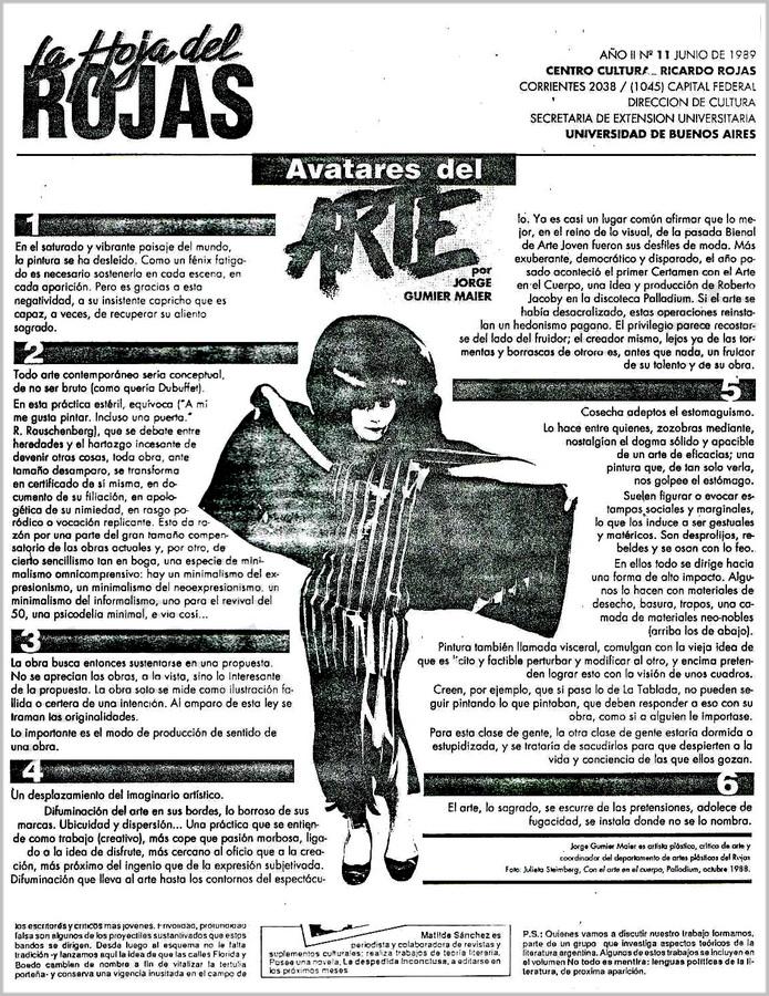 Jorge Gumier Maier - Avatares del arte - La Hoja del Rojas - Galeria Nora Fisch