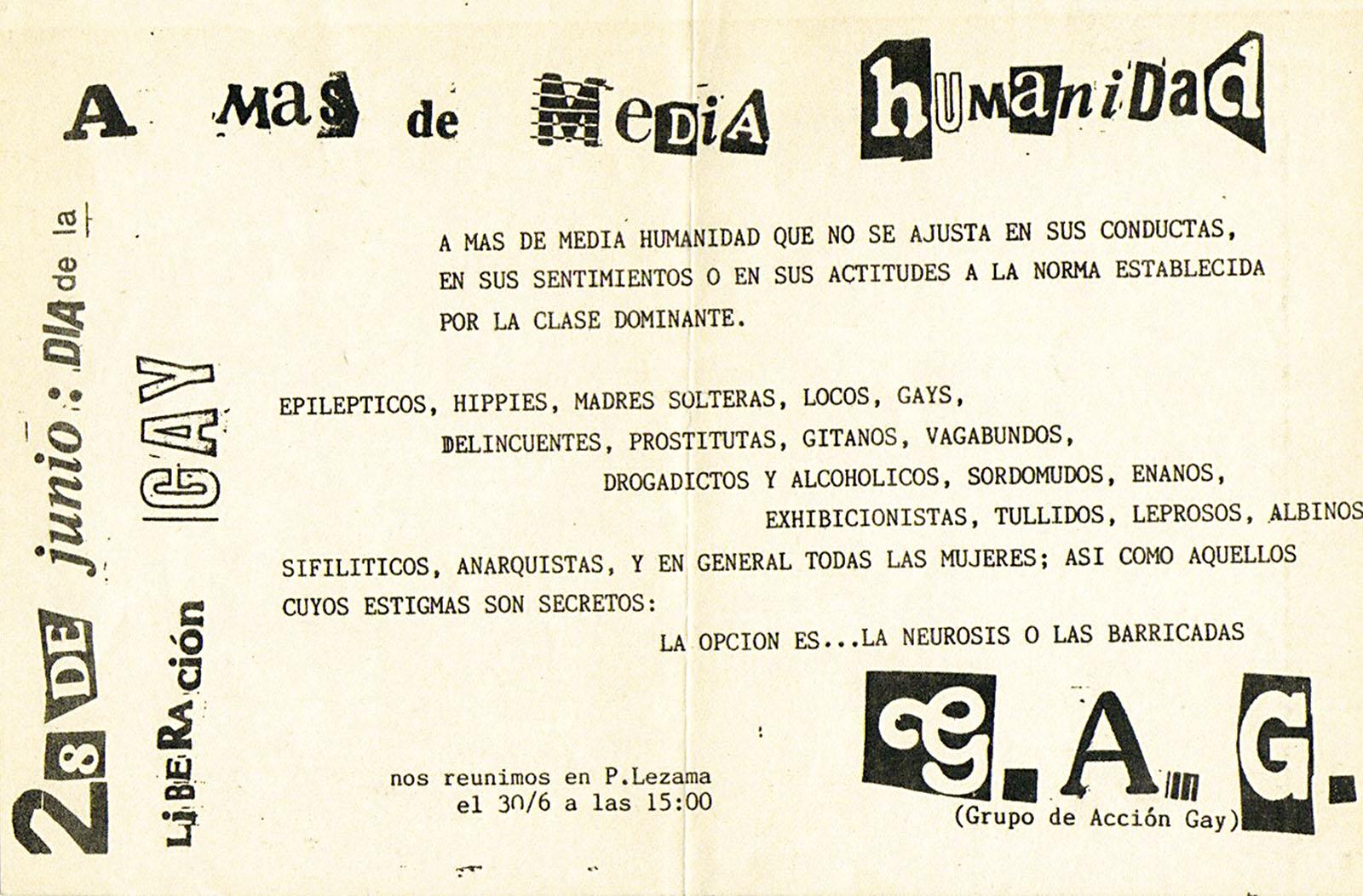 Volante del Grupo de Acción Gay, junio de 1984. Archivo Marcelo Pombo, Buenos Aires.