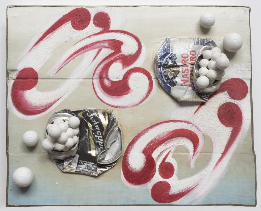Alfredo Londaibere, Sin Título, 1998. Acrílico, Oleo, Latas sobre Madera, 31 x 54 cm