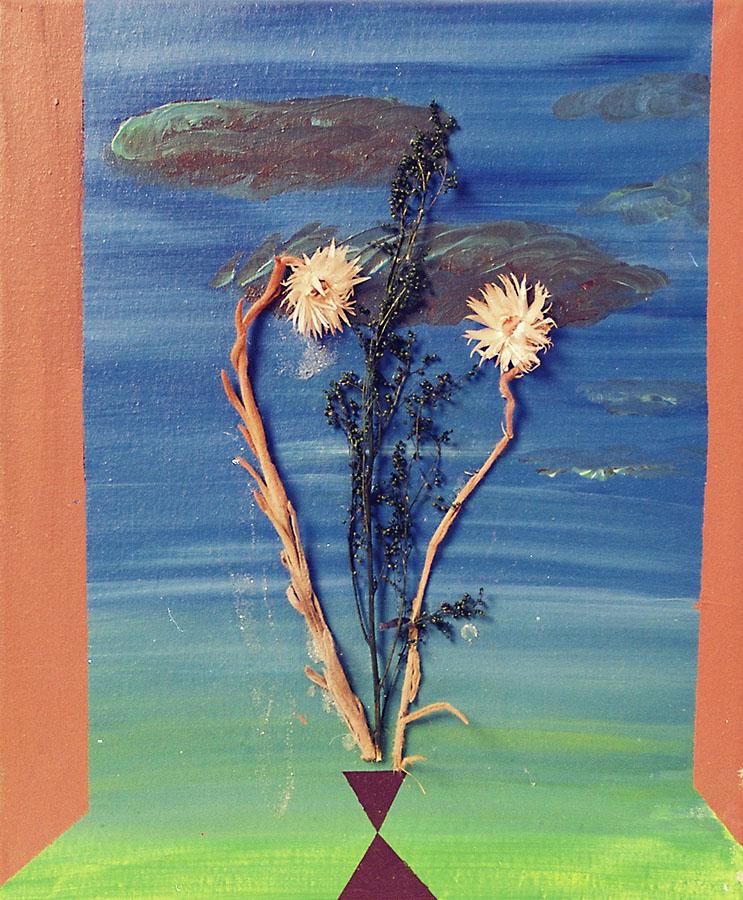 Fernanda Laguna, Paisaje con flores, 1999, acrilico sobre tela y collage, 32 x 24 cm aprox