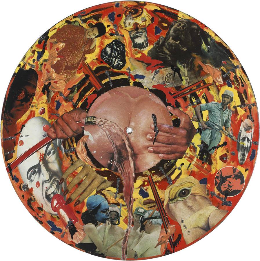 Marcelo Pombo, Disco, 1985, fotografías de revistas y brillantina sobre disco de vinilo pintado con esmalte sintético, 20 cm Ø