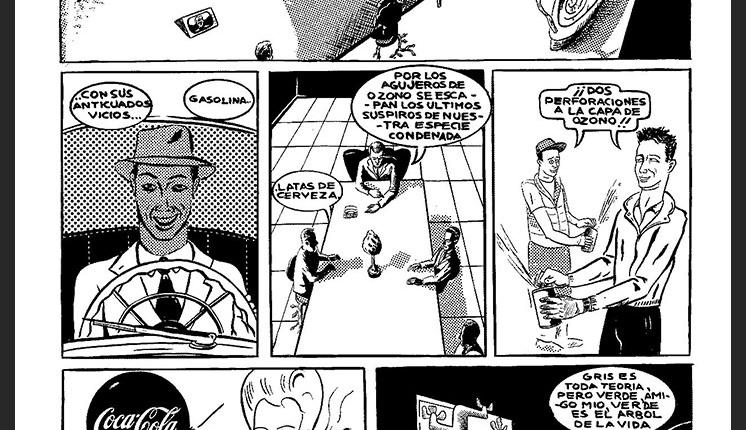 Roberto Jacoby y Sebastian Gordin - Historietas 1989-1990 - ficciones verdaderas - ecopolice panel-1