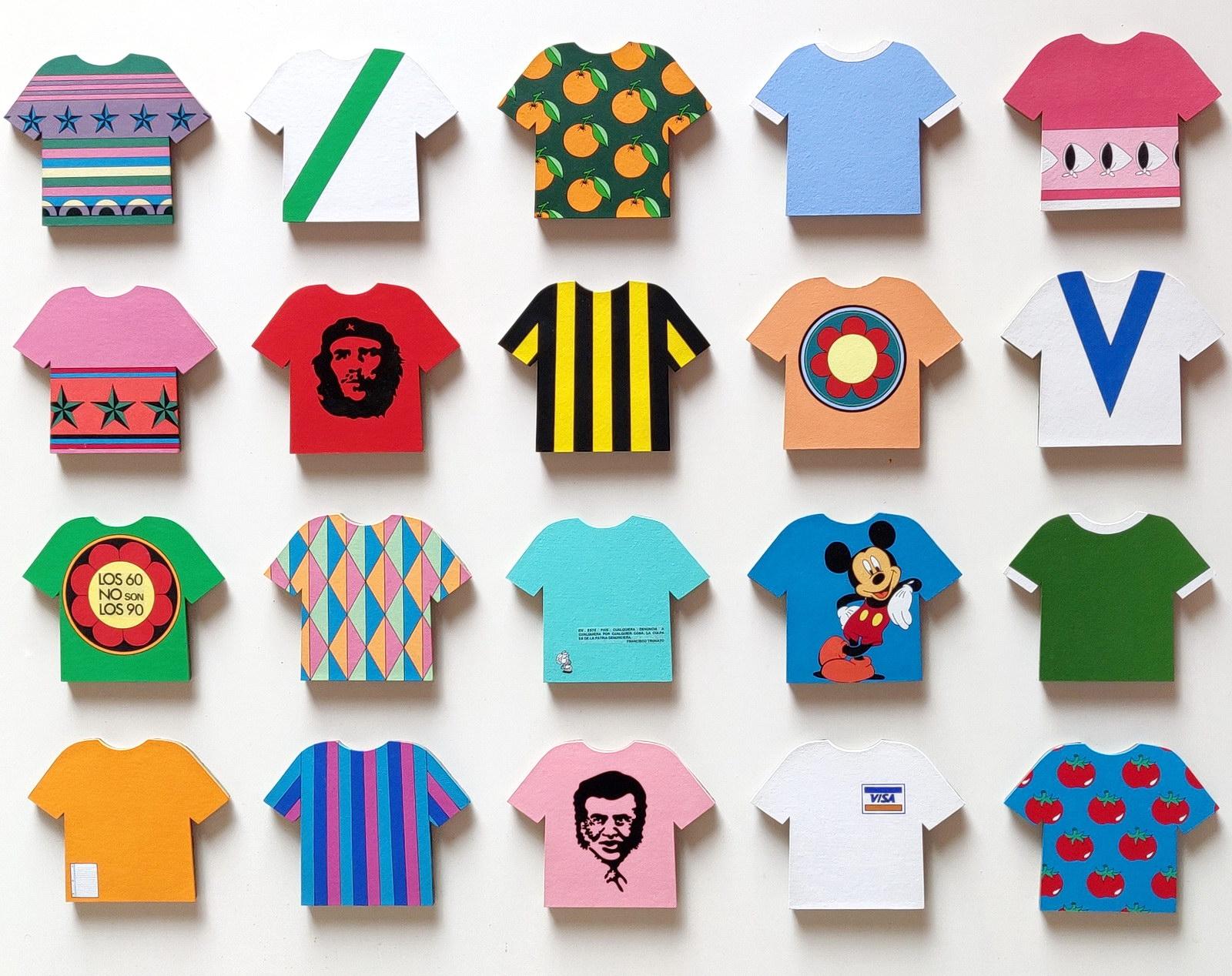Rosana Fuertes, Pasión de multitudes, 1992-continúa, 20 camisetas de passe-partout pintadas con acrílico montado sobre telgopor, 102 x 130 cm_