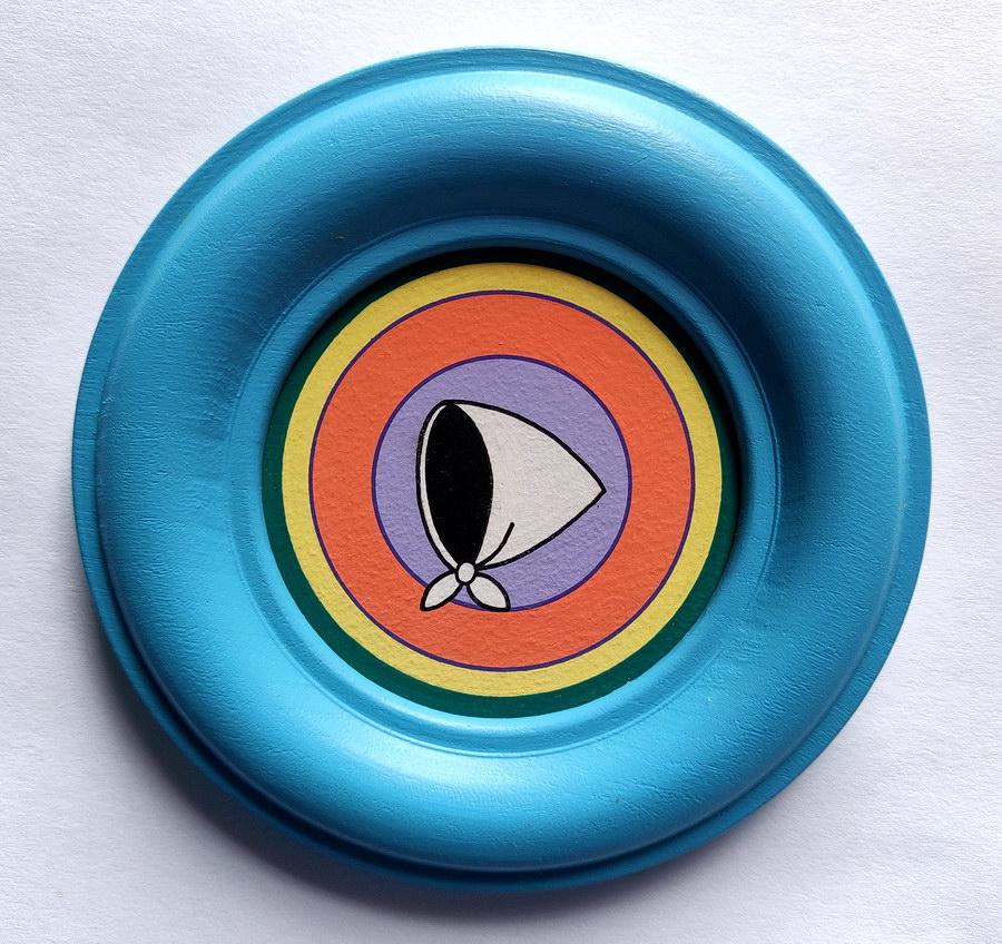 Rosana Fuertes, Sin título, 1992, acrílico sobre cartón passe-partout con marco de madera, 14 cm de diámetro