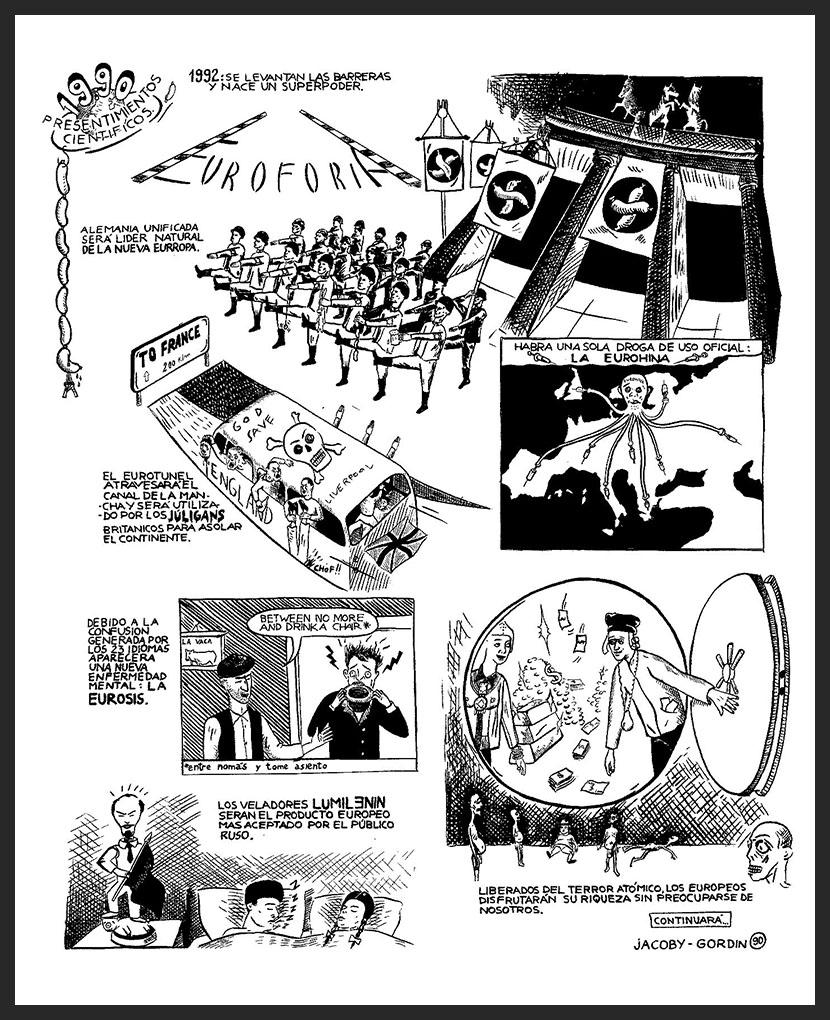 Roberto Jacoby y Santiago Gordín -historietas-1989-1990- Presentimientos cientificos panel-1-de-4-tinta-sobre-papel-1990