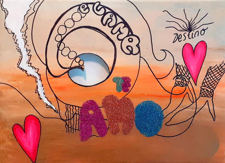 Fernanda Laguna, Destino,2001, acrílico y brillantina sobre tela calada, 32 x 44 cm.