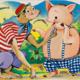 Fernanda Laguna, Chancho y mono, 1994, acrilico y brillantina sobre tela, 30 x 40 cm