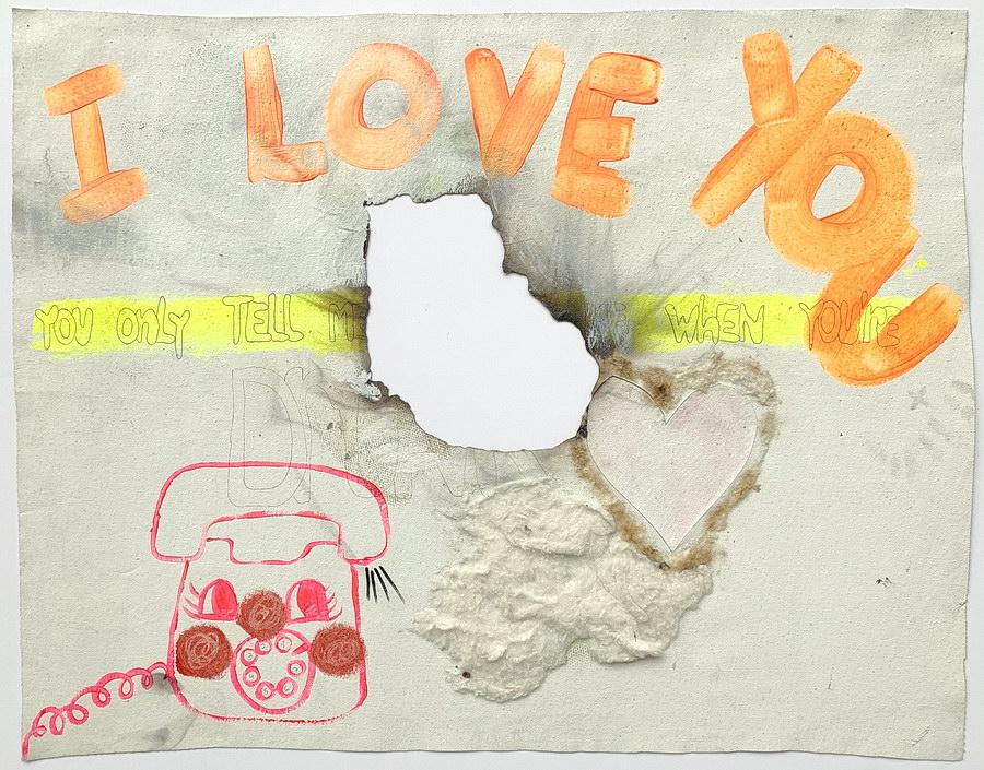 Fernanda Laguna, I love 2000, acrílico, birome y algodón sobre tela calada y quemada, 44,5 x 55, 8 cm.