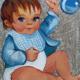 Fernanda Laguna, Bebé con sonajero, 1994, acrílico y brillantina sobre tela, 19 x 17 cm