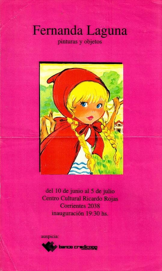Afiche de la exposición Fernanda Laguna. Pintura y objetos, Galería de Artes Visuales del Centro Cultural Rojas, 1994.
