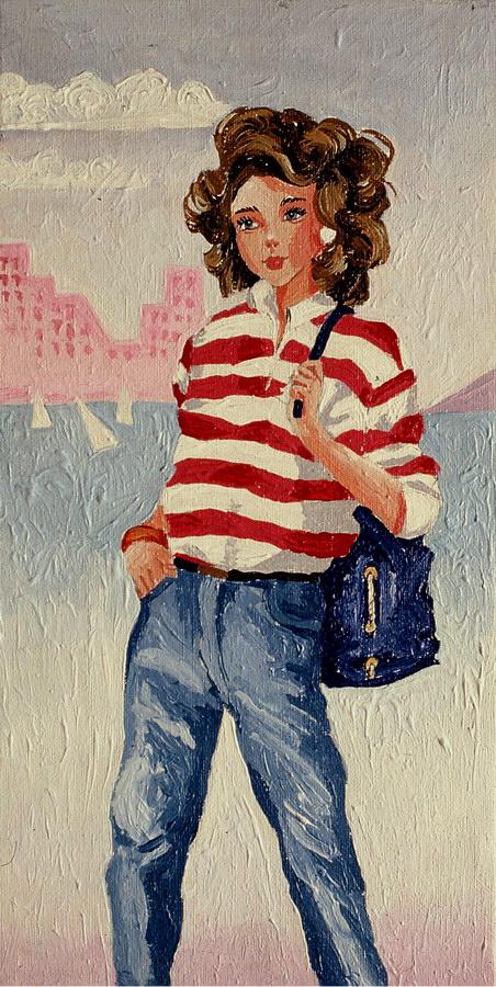 Fernanda Laguna - Chica con bolso, 1994, acrílico sobre tela, 30 x 14 cm.