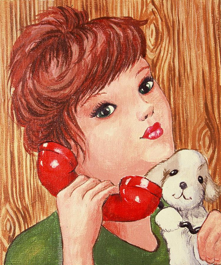 Fernanda Laguna - Chica con teléfono, 1995, acrílico sobre tela, 18 x15,5 cm