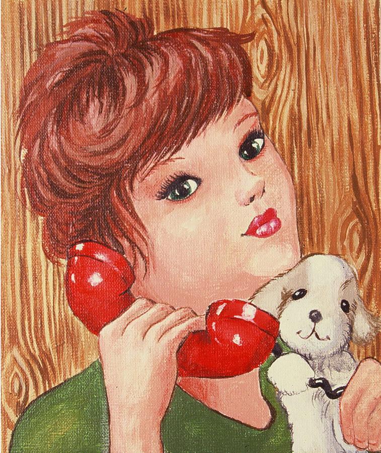 Fernanda Laguna - Chica con teléfono, 1995, acrílico sobre tela, 18 x15,5 cm.