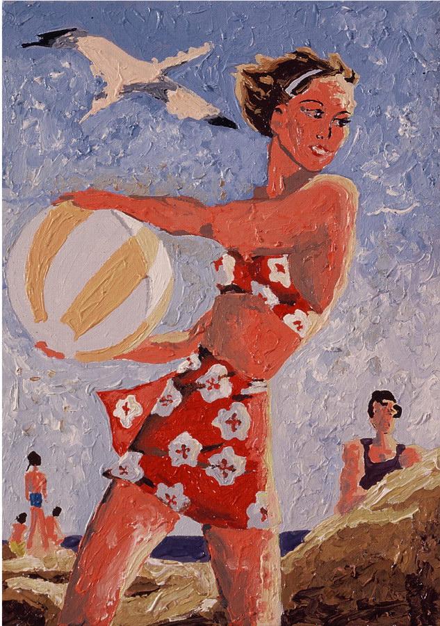 Fernanda Laguna - Chica en la playa,1995, acrílico y brillantina sobre tela, 30 x 20 cm.