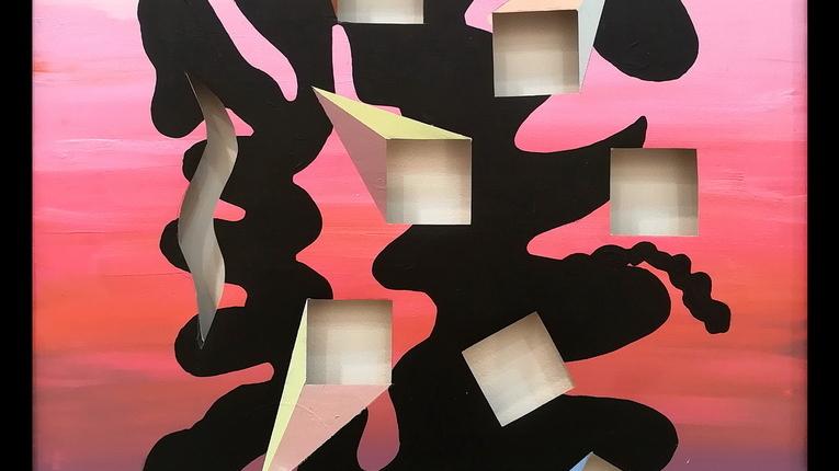 Fernanda Laguna, Sin título, 2018, acrílico sobre tela calada, 58 x 48 cm.