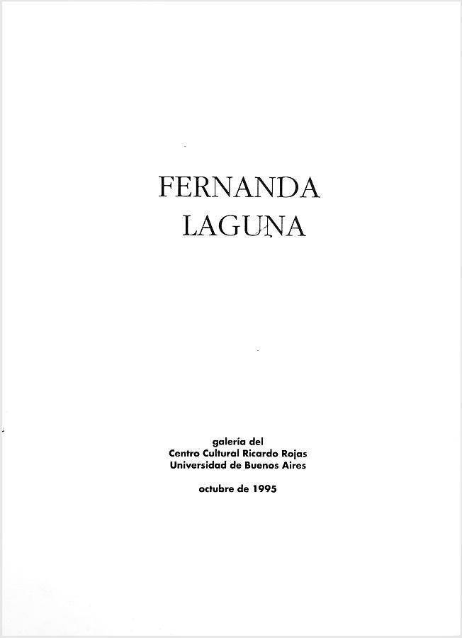 Tapa del catálogo de la exposición Fernanda Laguna, Galería de Artes Visuales del Centro Cultural Rojas, 1995