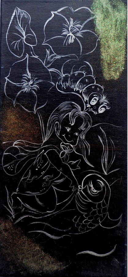 Fernanda Laguna, La chica con el pez y la oruga junto al río, 1995, acrílico sobre tela, 41 x19 cm