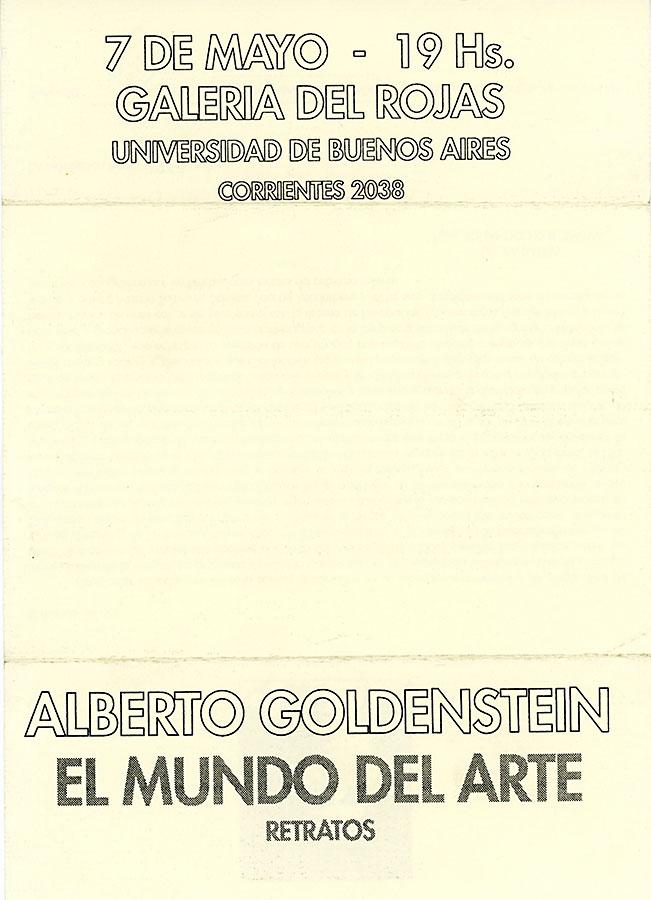 Hoja de sala de la exposición El Mundo del Arte de Alberto Goldenstein, Galería de Artes Visuales del Centro Cultural Rojas, 1993